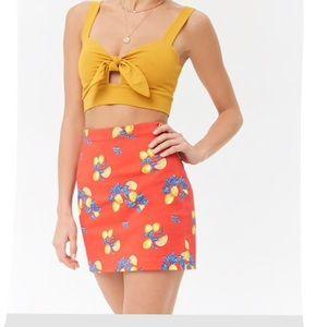 Summer Lemon print mini skirt